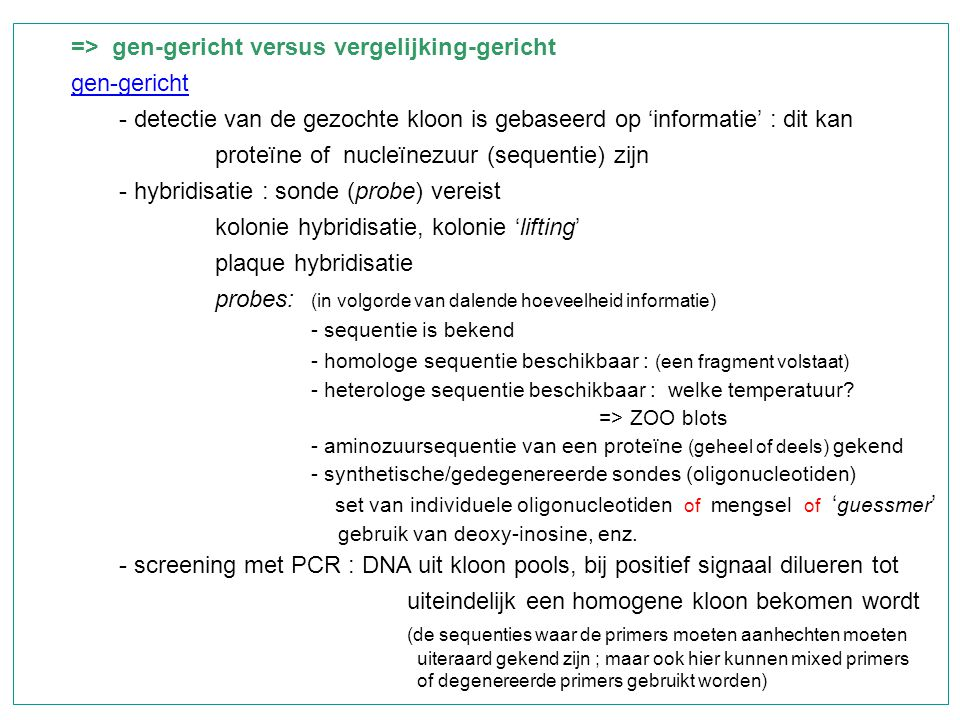 => gen-gericht versus vergelijking-gericht gen-gericht