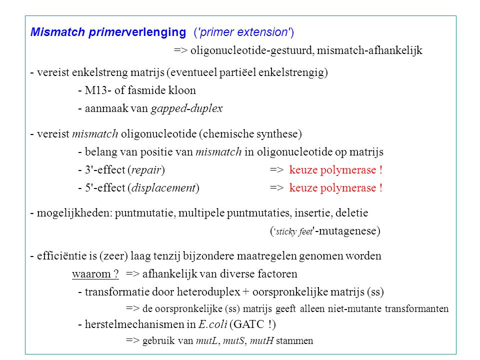 Mismatch primerverlenging ( primer extension )