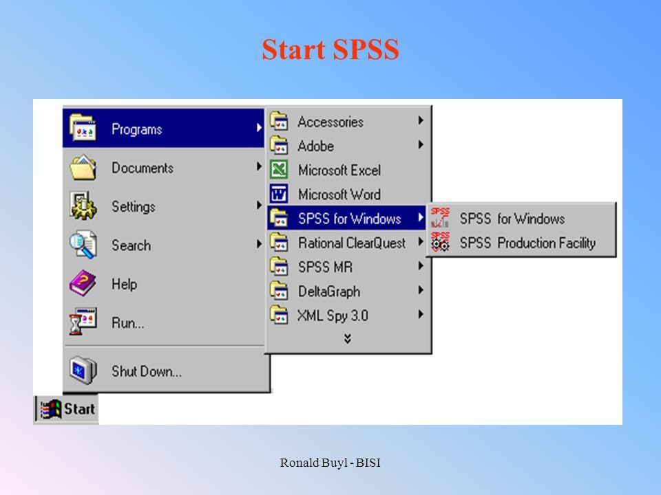 Start SPSS Ronald Buyl - BISI