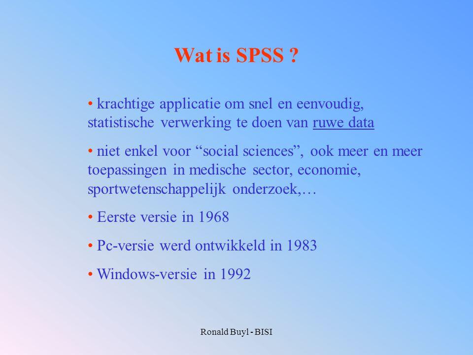 Wat is SPSS krachtige applicatie om snel en eenvoudig, statistische verwerking te doen van ruwe data.