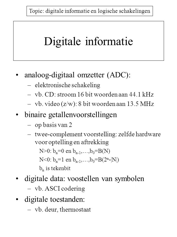Digitale informatie analoog-digitaal omzetter (ADC):