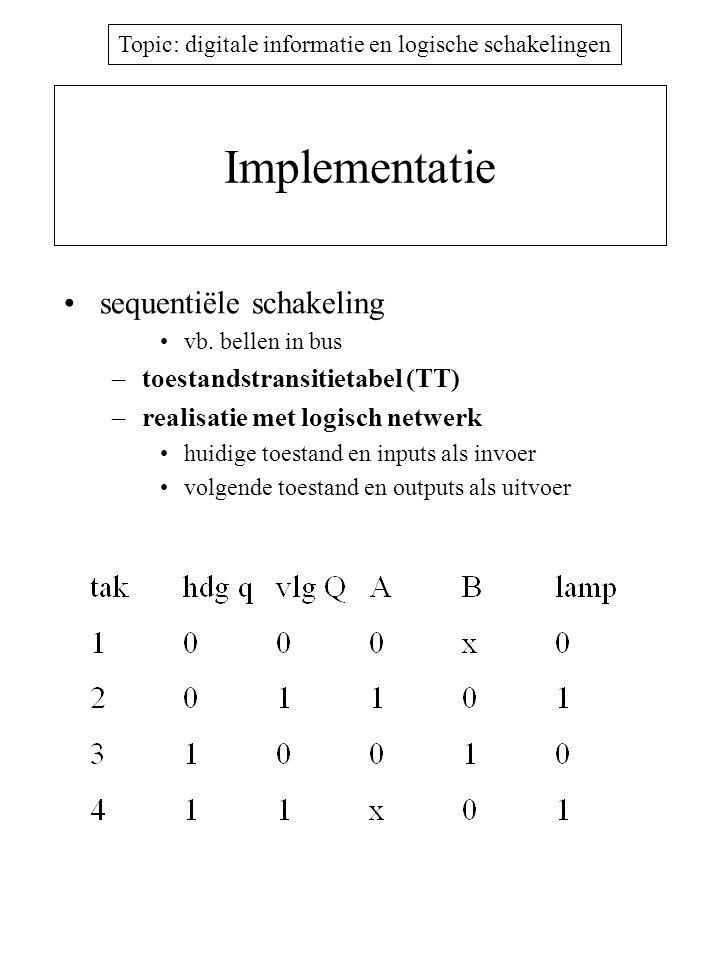 Implementatie sequentiële schakeling toestandstransitietabel (TT)