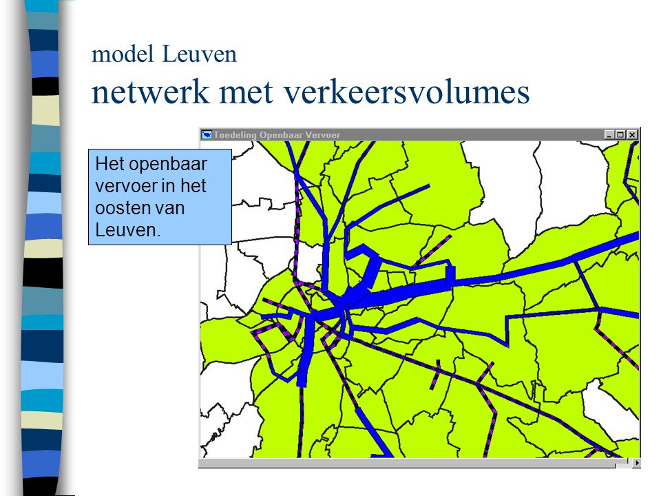 model Leuven netwerk met verkeersvolumes