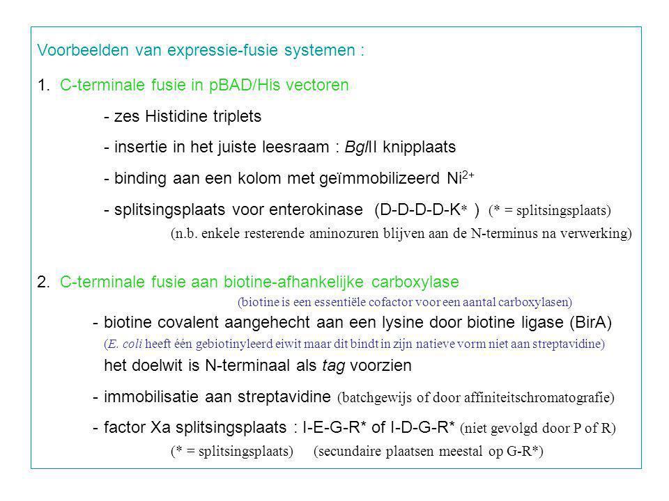 Voorbeelden van expressie-fusie systemen :