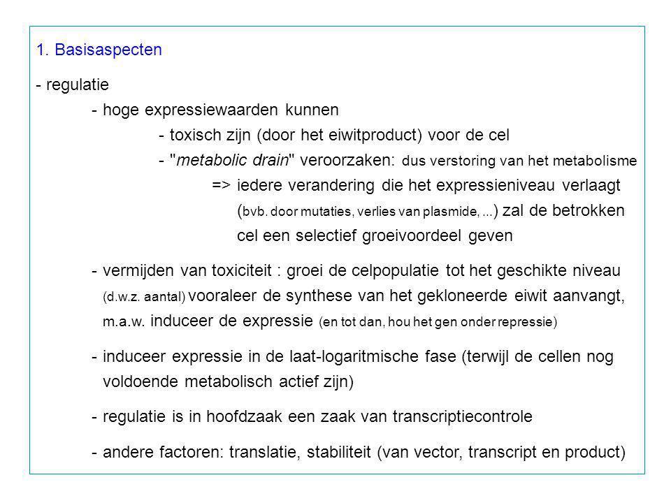 1. Basisaspecten - regulatie. - hoge expressiewaarden kunnen. - toxisch zijn (door het eiwitproduct) voor de cel.