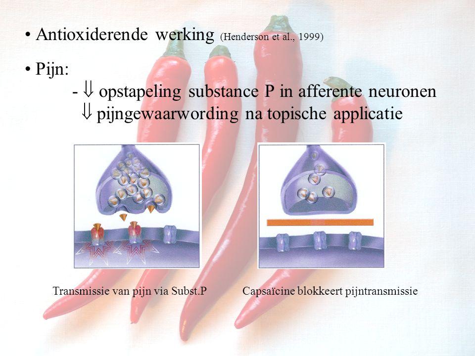 Antioxiderende werking (Henderson et al., 1999)