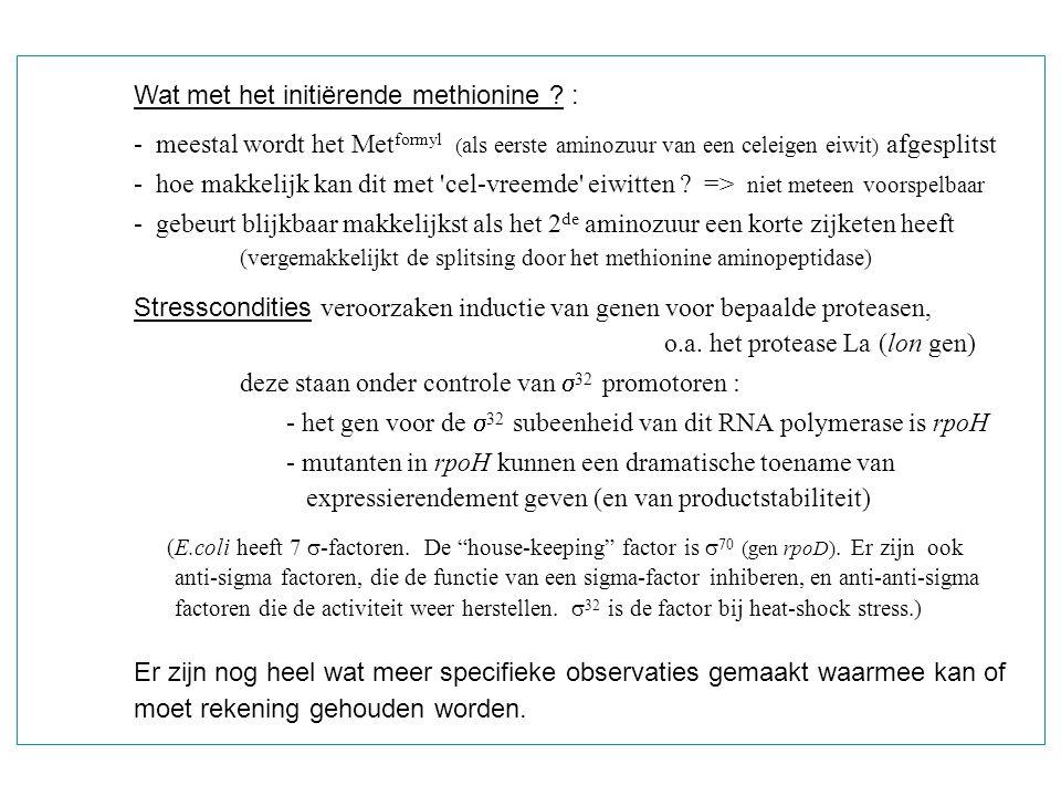 Wat met het initiërende methionine :