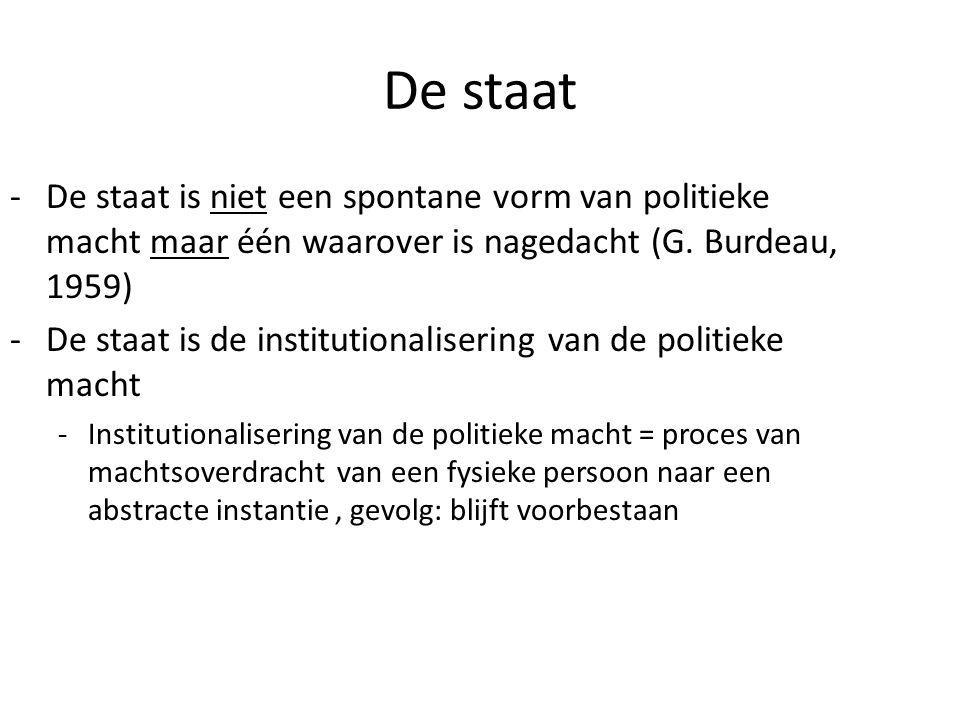 De staat De staat is niet een spontane vorm van politieke macht maar één waarover is nagedacht (G. Burdeau, 1959)