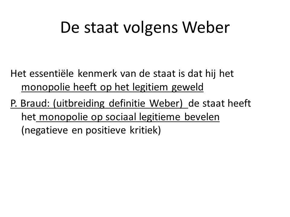 De staat volgens Weber Het essentiële kenmerk van de staat is dat hij het monopolie heeft op het legitiem geweld.