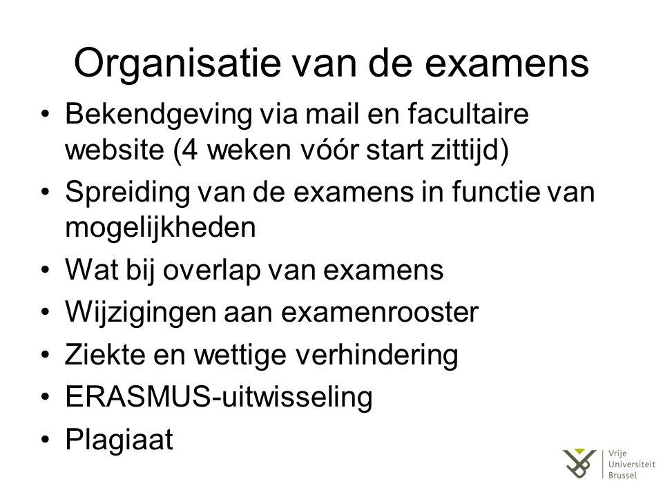 Organisatie van de examens