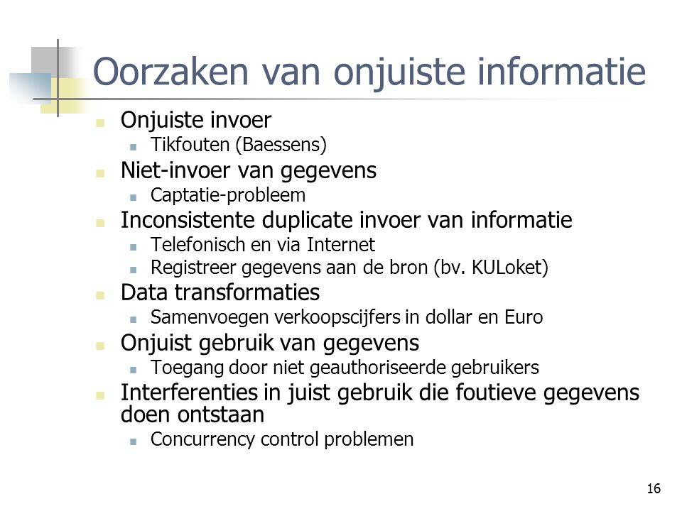 Oorzaken van onjuiste informatie