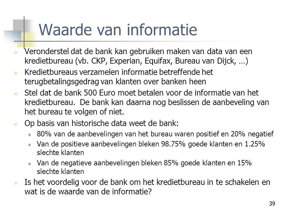 Waarde van informatie Veronderstel dat de bank kan gebruiken maken van data van een kredietbureau (vb. CKP, Experian, Equifax, Bureau van Dijck, …)
