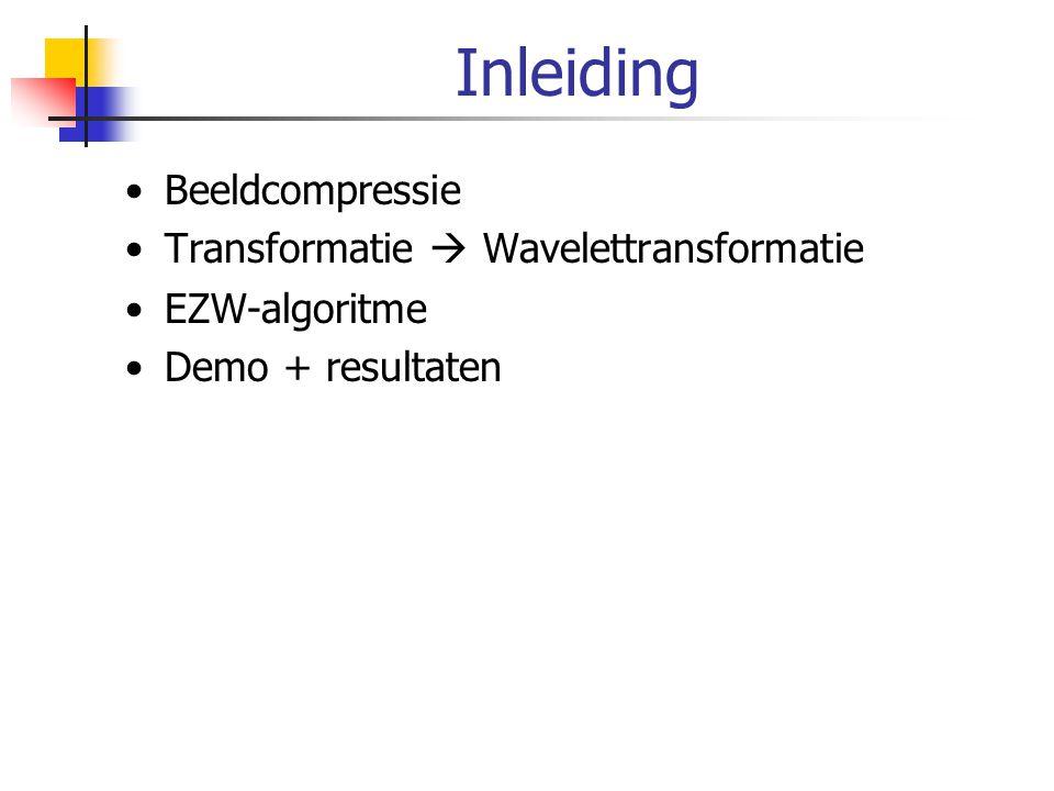 Inleiding Beeldcompressie Transformatie  Wavelettransformatie
