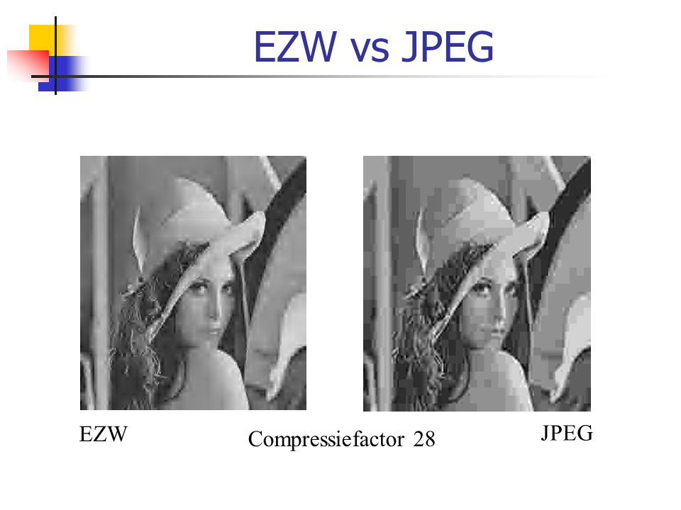 EZW vs JPEG EZW JPEG Compressiefactor 28