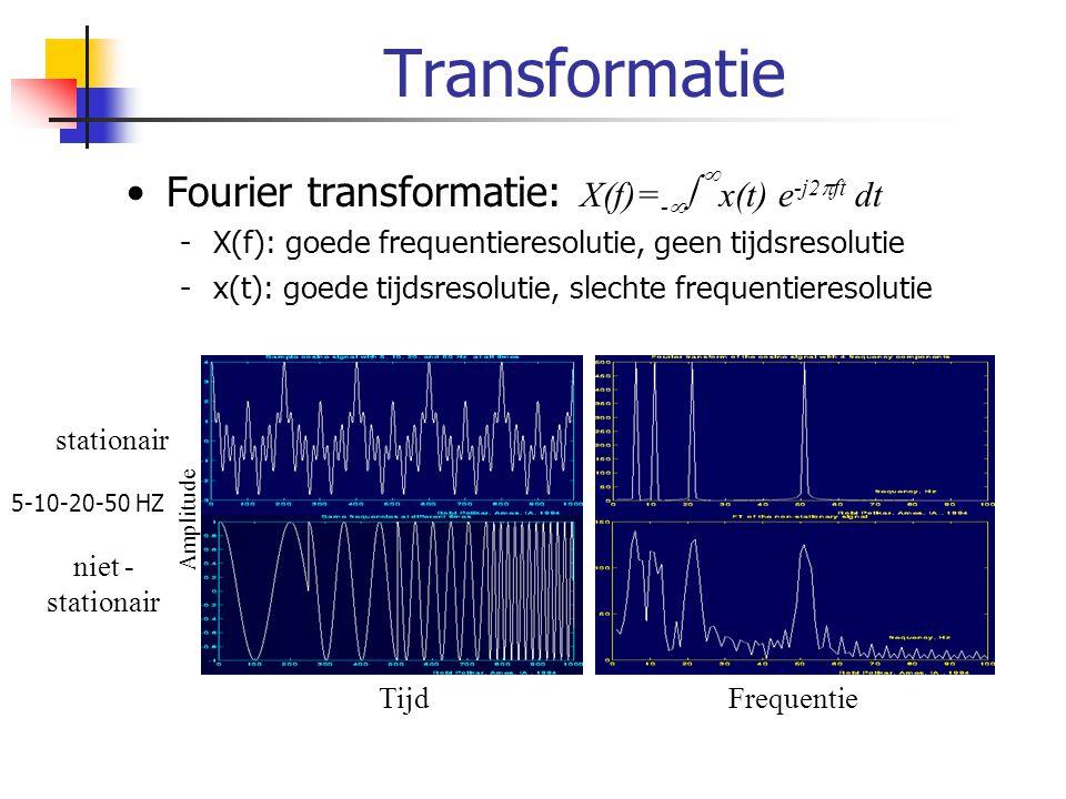 Transformatie Fourier transformatie: X(f)=- x(t) e-j2ft dt