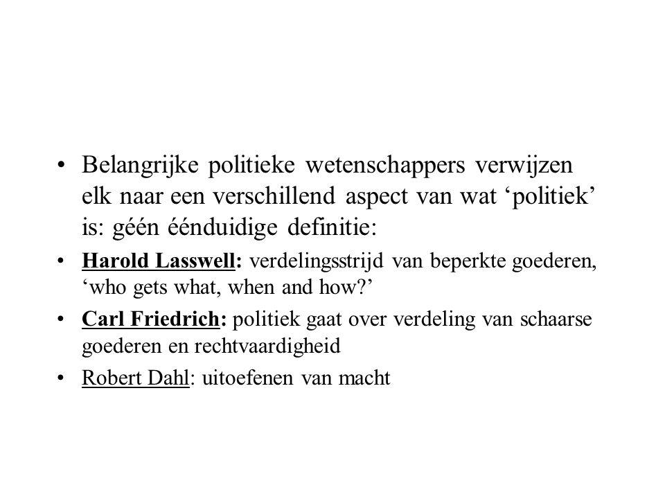 Belangrijke politieke wetenschappers verwijzen elk naar een verschillend aspect van wat 'politiek' is: géén éénduidige definitie: