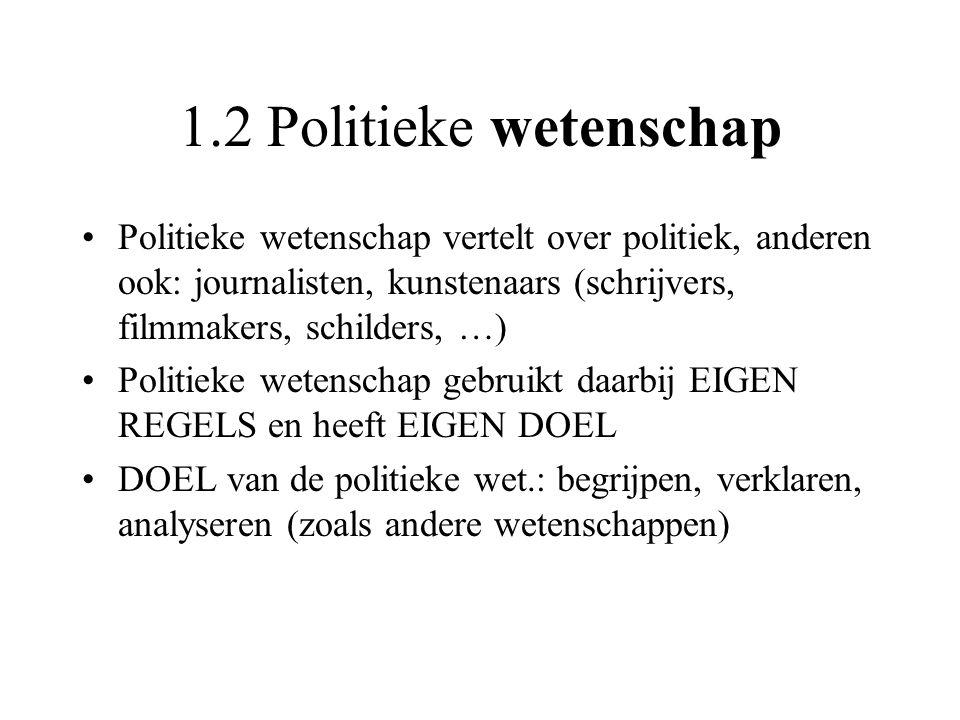 1.2 Politieke wetenschap Politieke wetenschap vertelt over politiek, anderen ook: journalisten, kunstenaars (schrijvers, filmmakers, schilders, …)