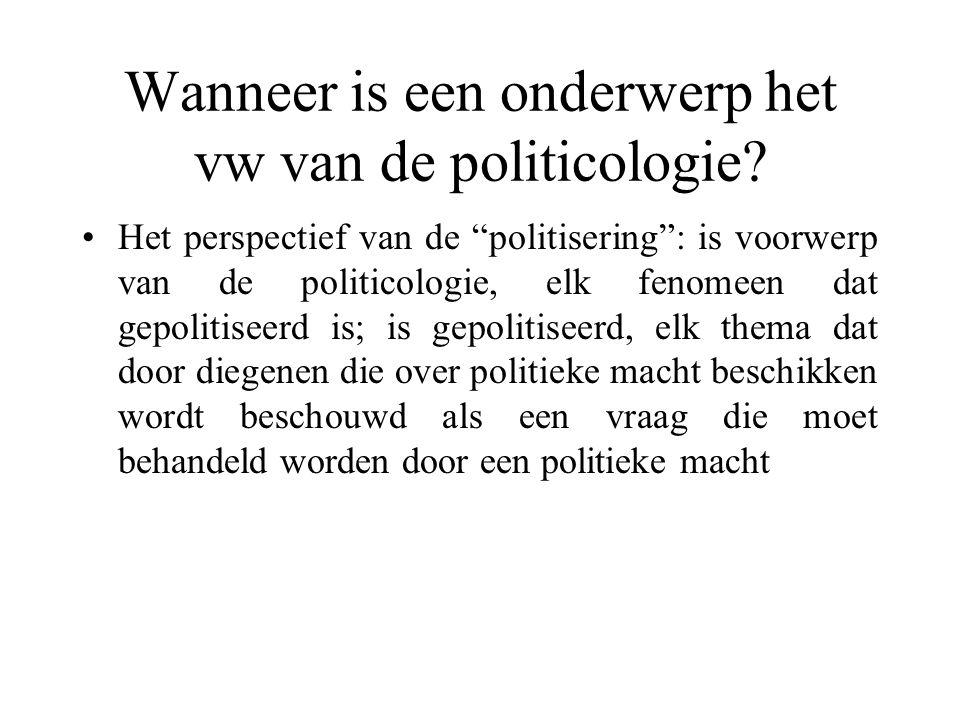 Wanneer is een onderwerp het vw van de politicologie