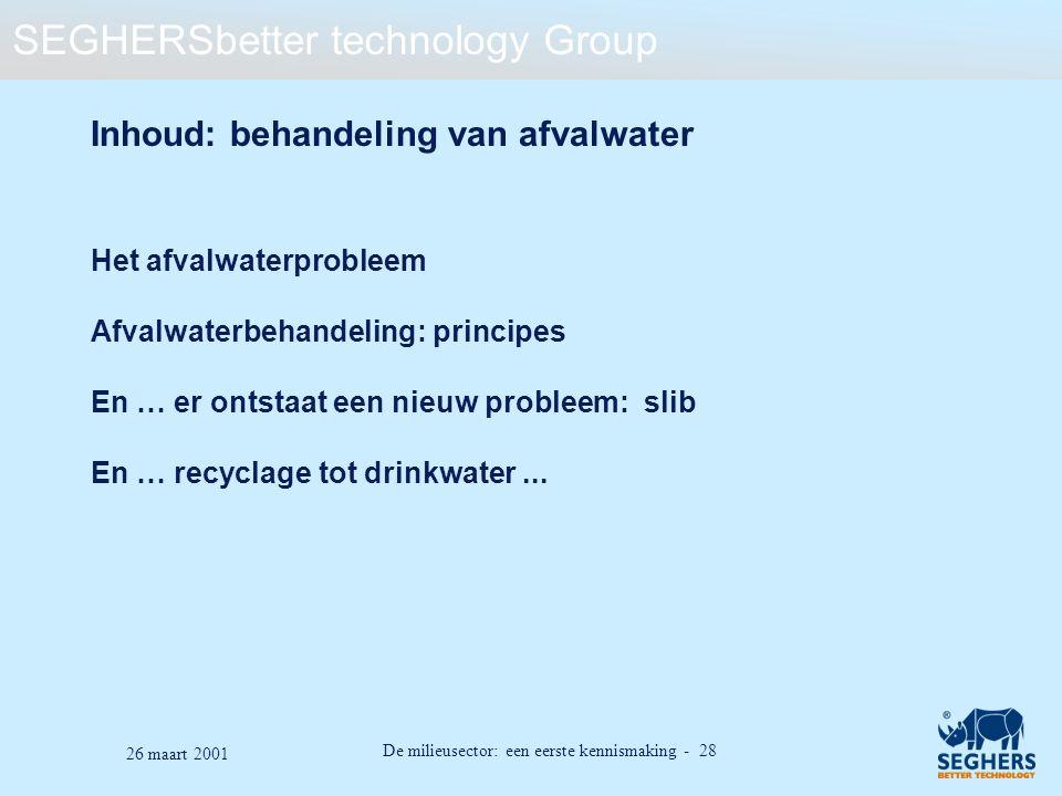 Inhoud: behandeling van afvalwater
