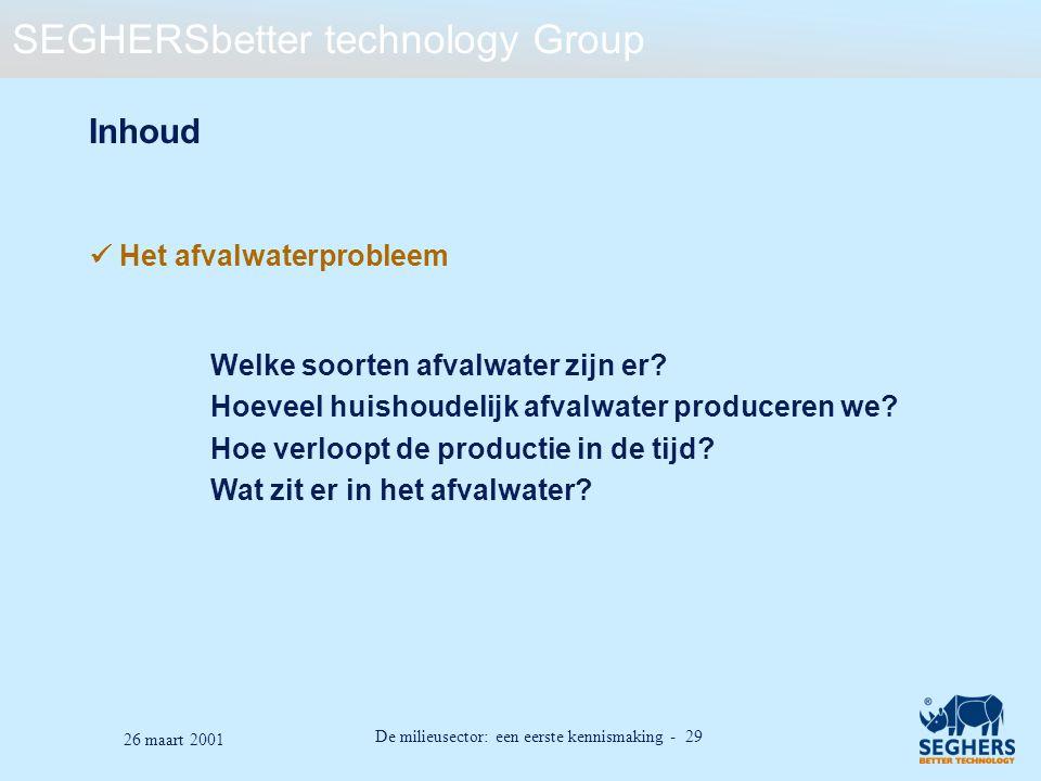 Inhoud  Het afvalwaterprobleem Welke soorten afvalwater zijn er