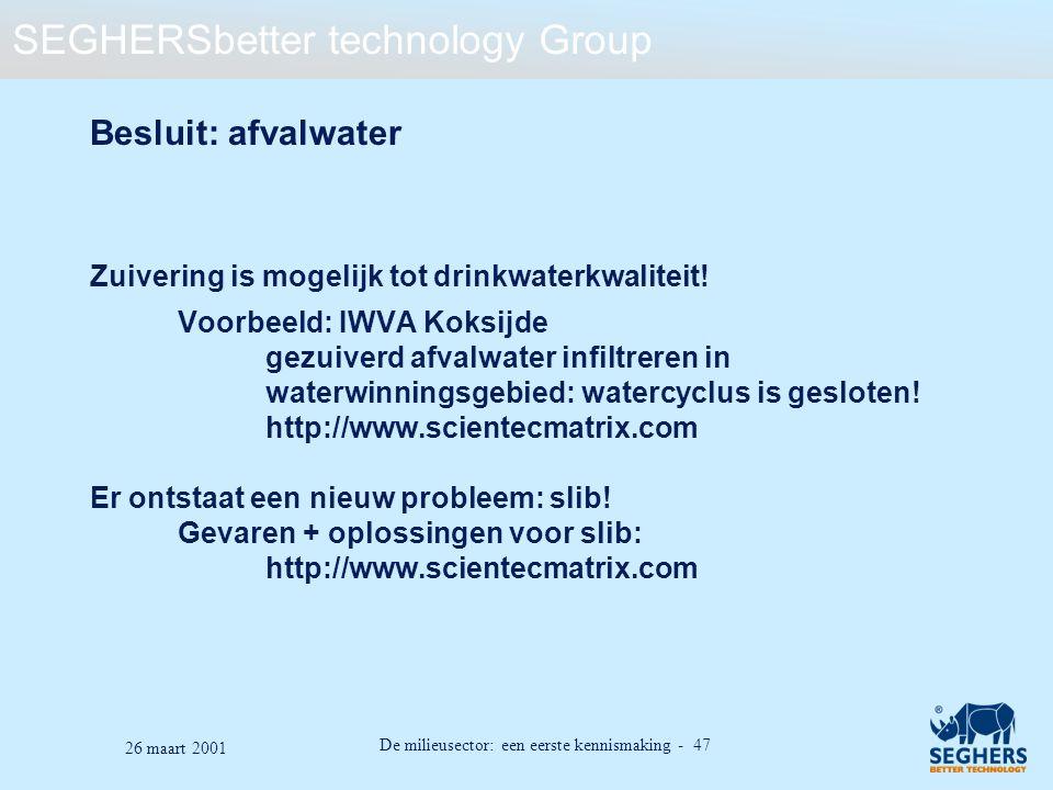 Besluit: afvalwater Zuivering is mogelijk tot drinkwaterkwaliteit!