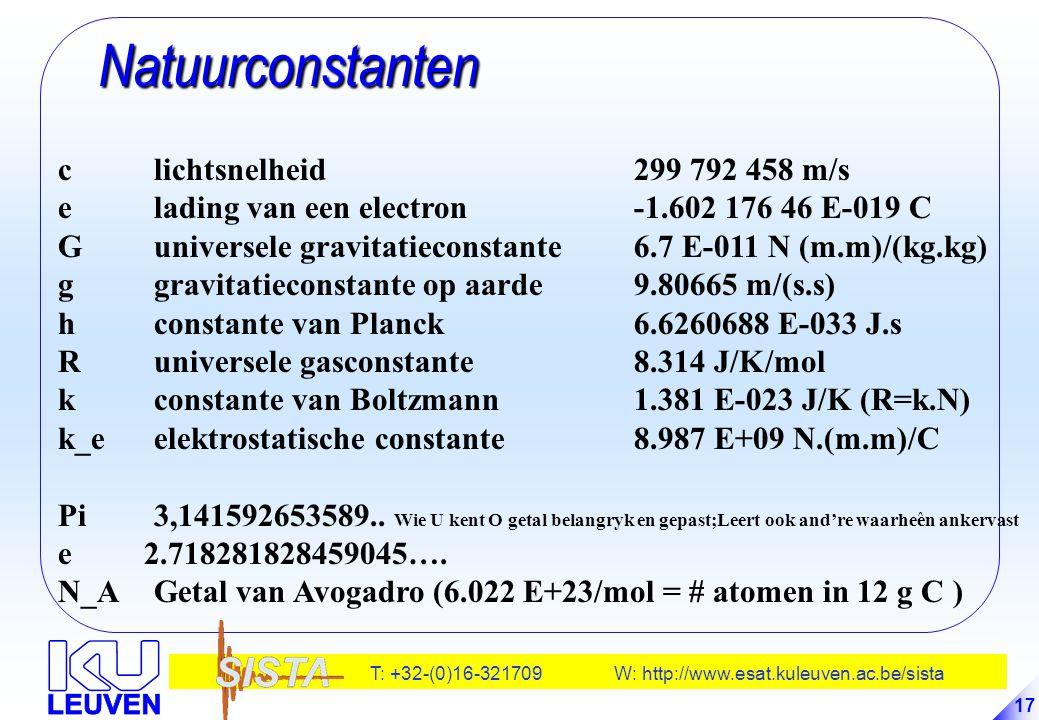 Natuurconstanten c lichtsnelheid 299 792 458 m/s