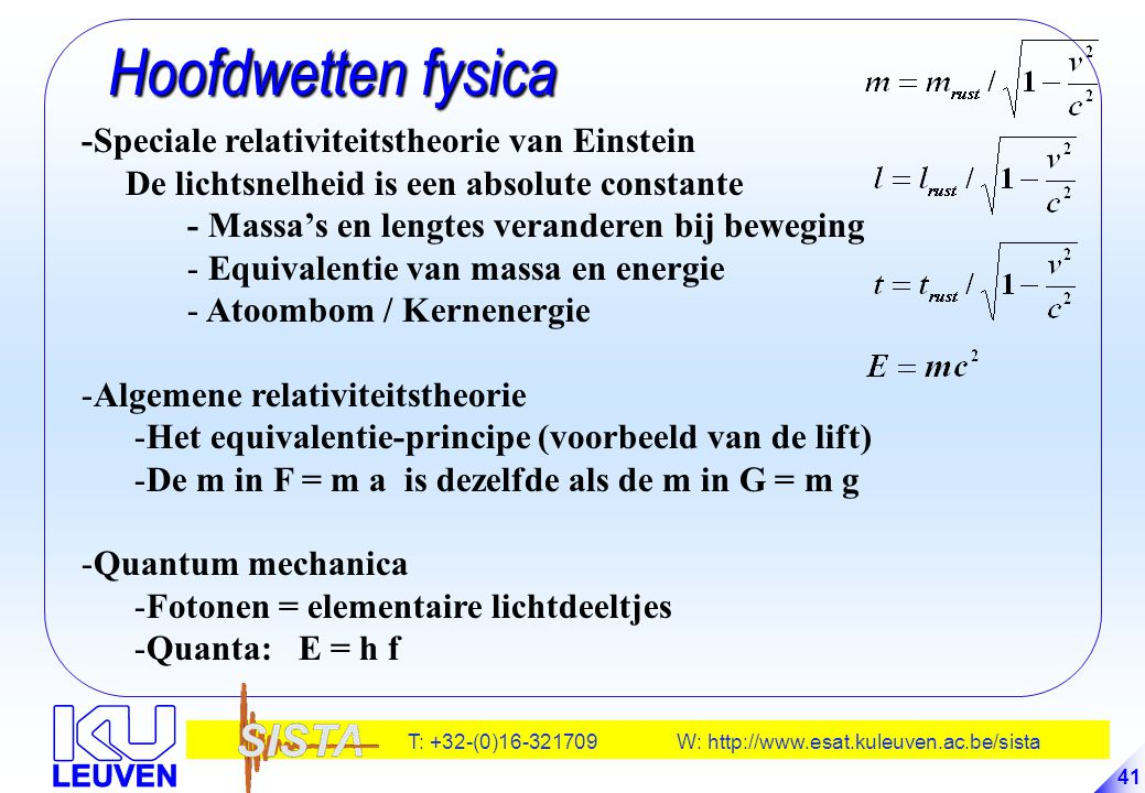 Hoofdwetten fysica -Speciale relativiteitstheorie van Einstein