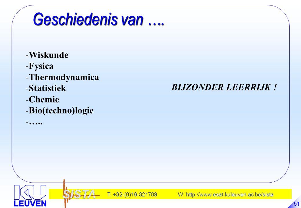 Geschiedenis van …. Wiskunde Fysica Thermodynamica Statistiek Chemie