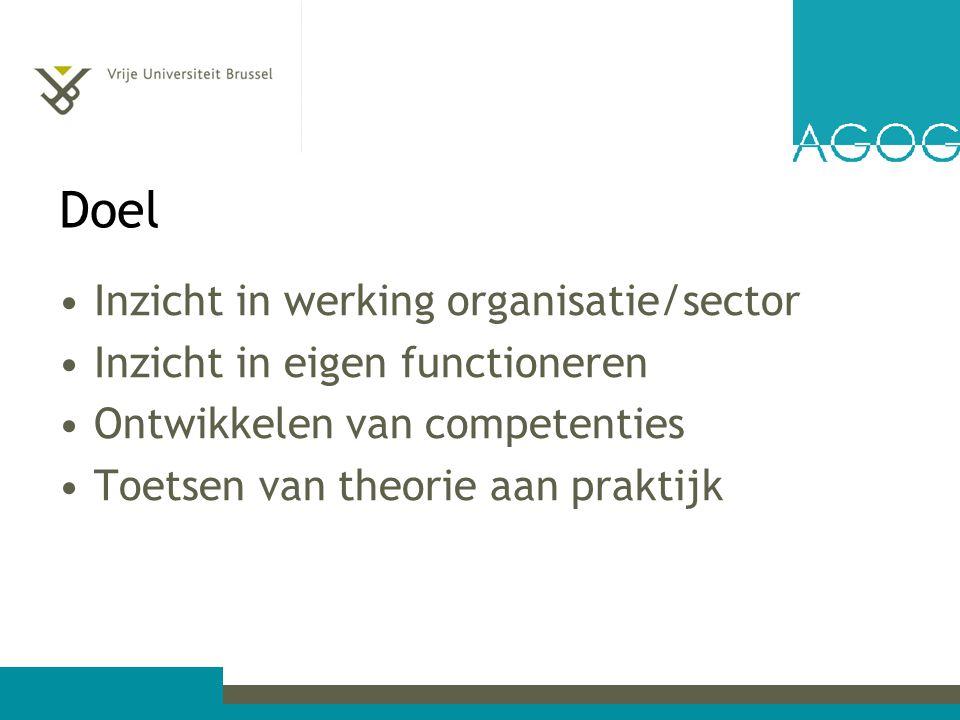 Doel Inzicht in werking organisatie/sector