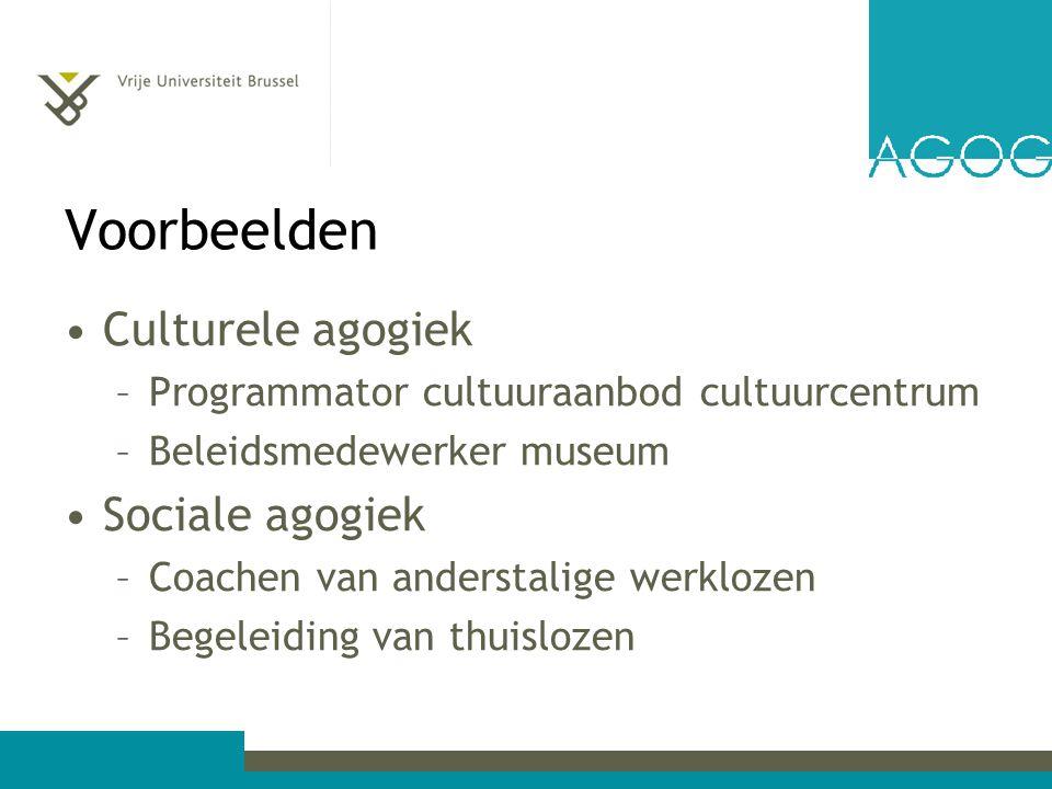 Voorbeelden Culturele agogiek Sociale agogiek