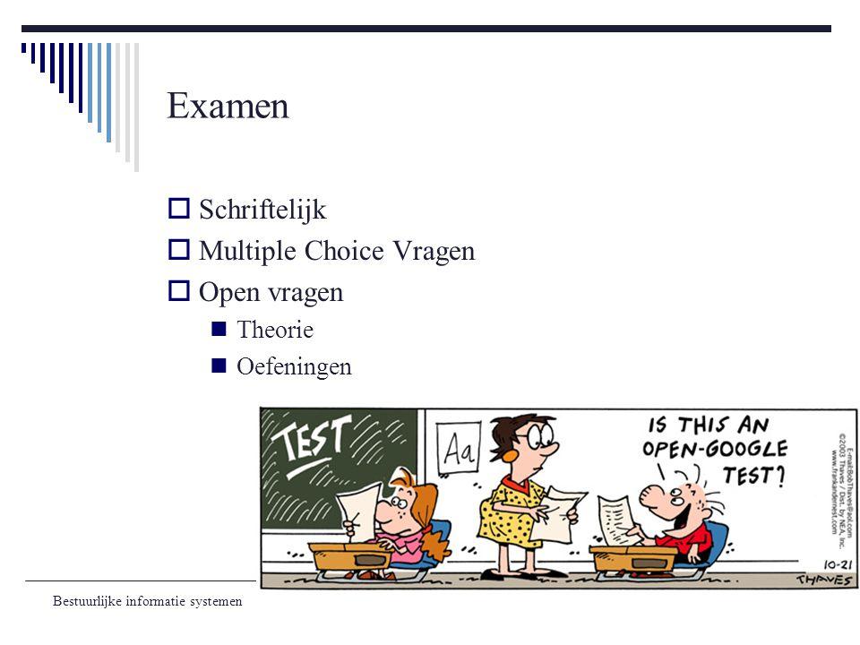 Examen Schriftelijk Multiple Choice Vragen Open vragen Theorie