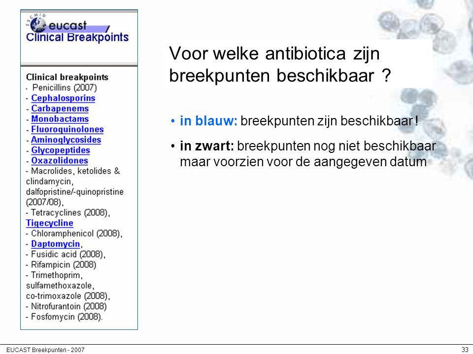Voor welke antibiotica zijn breekpunten beschikbaar