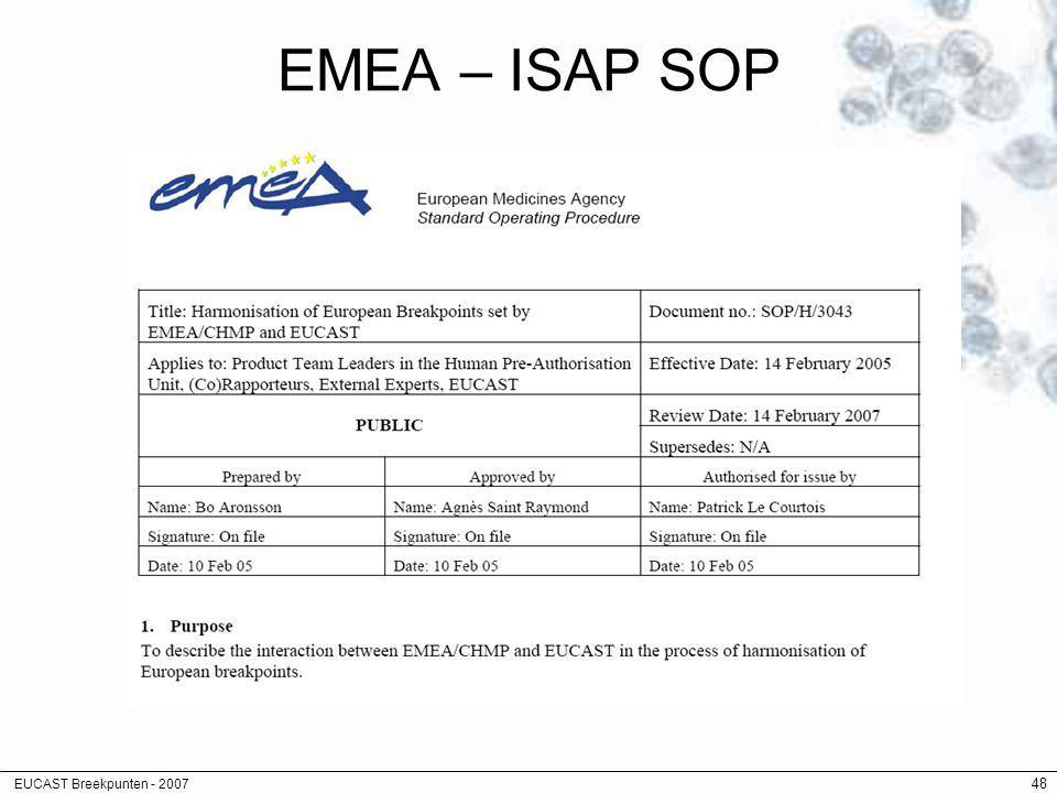 EMEA – ISAP SOP EUCAST Breekpunten - 2007