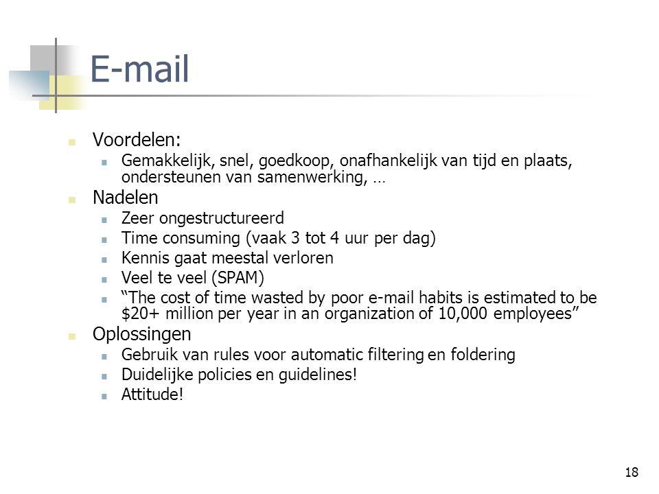E-mail Voordelen: Nadelen Oplossingen