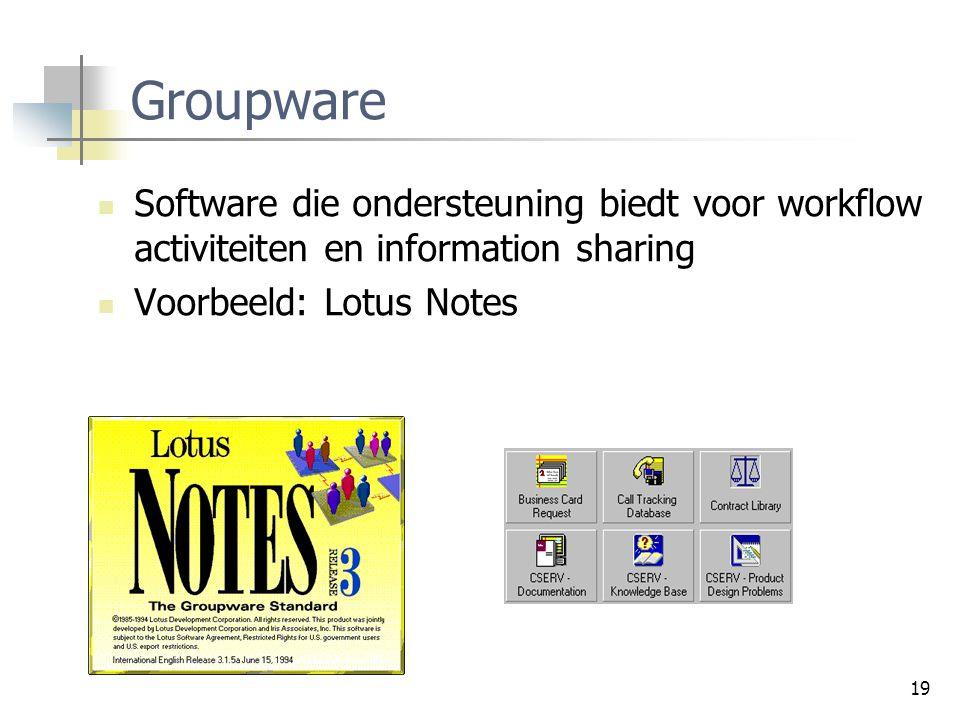 Groupware Software die ondersteuning biedt voor workflow activiteiten en information sharing.