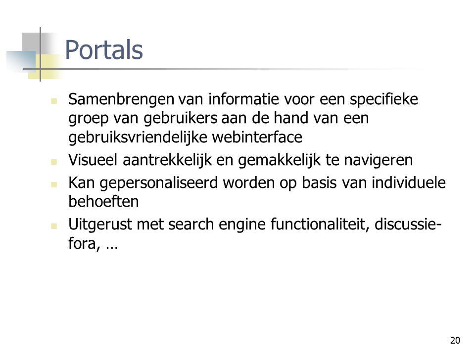 Portals Samenbrengen van informatie voor een specifieke groep van gebruikers aan de hand van een gebruiksvriendelijke webinterface.