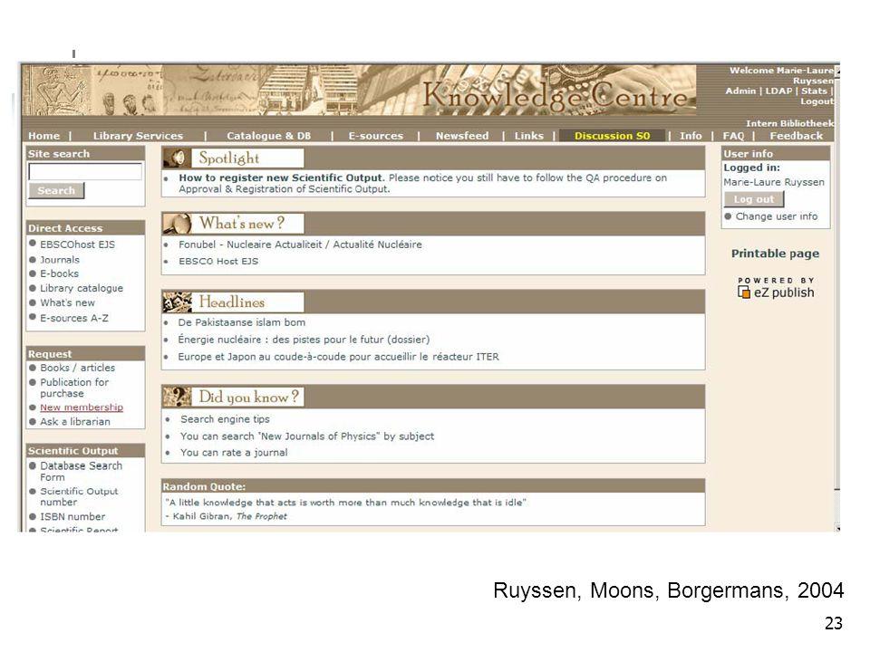 Ruyssen, Moons, Borgermans, 2004