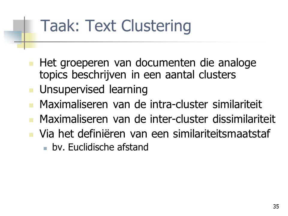 Taak: Text Clustering Het groeperen van documenten die analoge topics beschrijven in een aantal clusters.