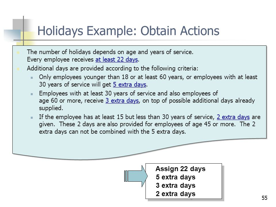 Holidays Example: Obtain Actions