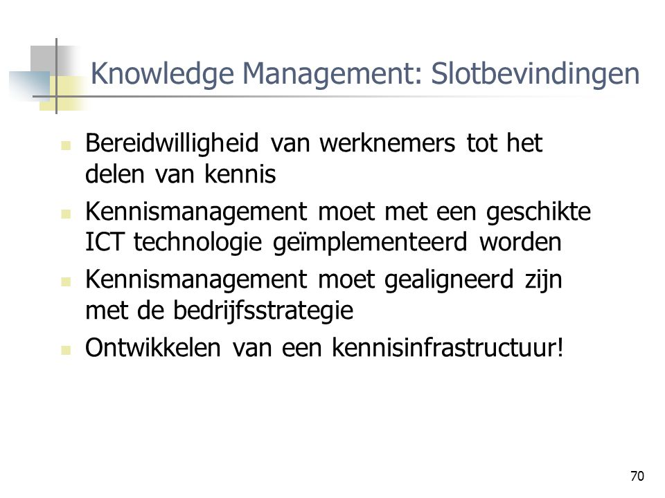 Knowledge Management: Slotbevindingen