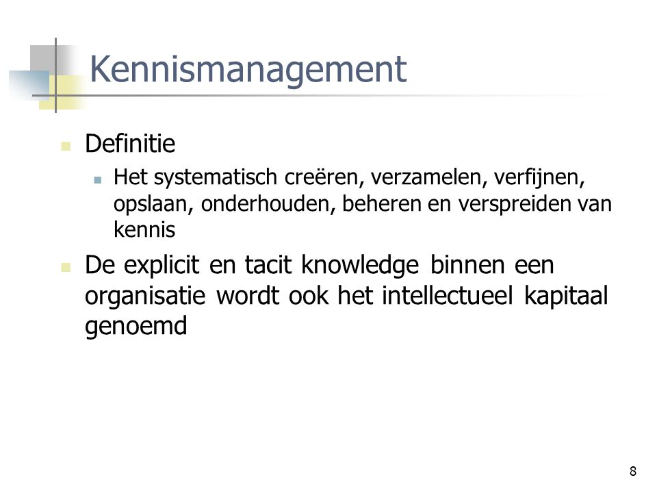 Kennismanagement Definitie