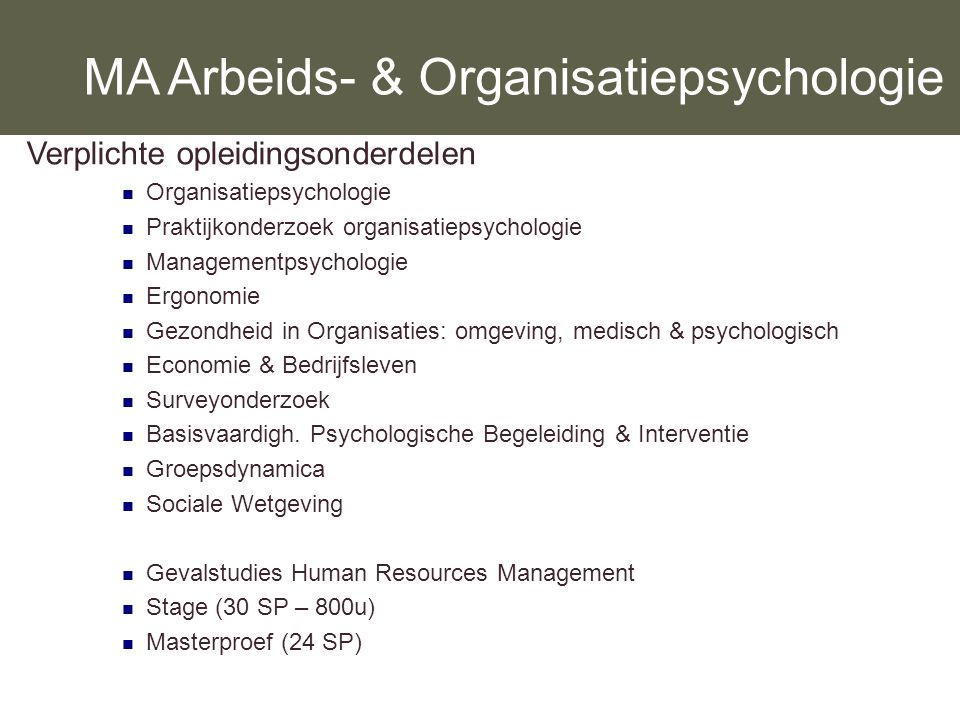 MA Arbeids- & Organisatiepsychologie