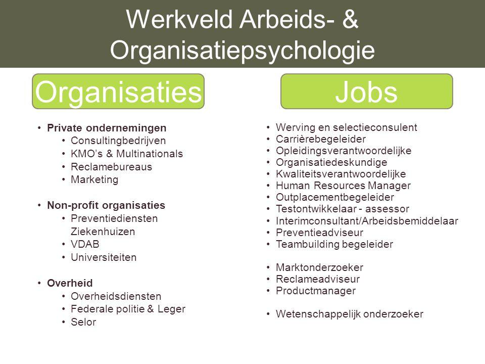 Werkveld Arbeids- & Organisatiepsychologie