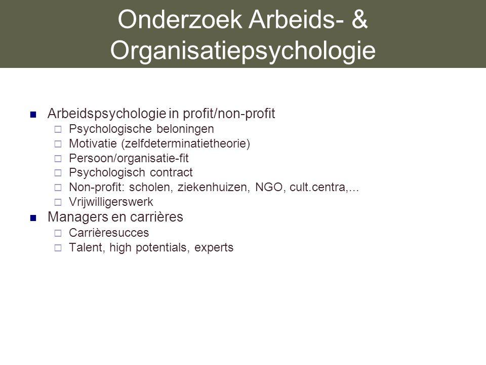 Onderzoek Arbeids- & Organisatiepsychologie