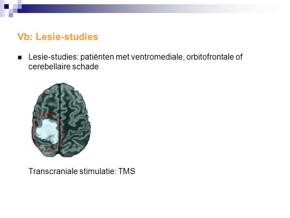 Vb: Lesie-studies Lesie-studies: patiënten met ventromediale, orbitofrontale of cerebellaire schade.
