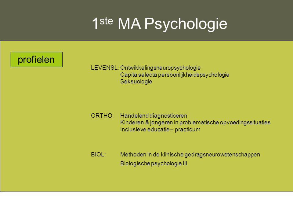 1ste MA Psychologie profielen