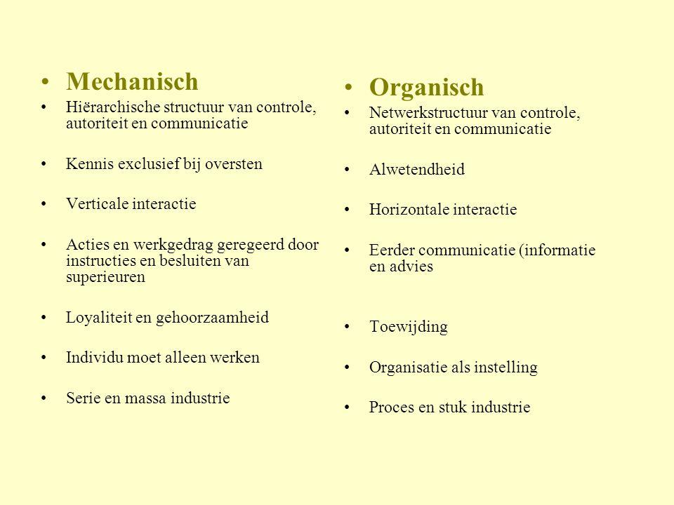 Mechanisch Hiërarchische structuur van controle, autoriteit en communicatie. Kennis exclusief bij oversten.