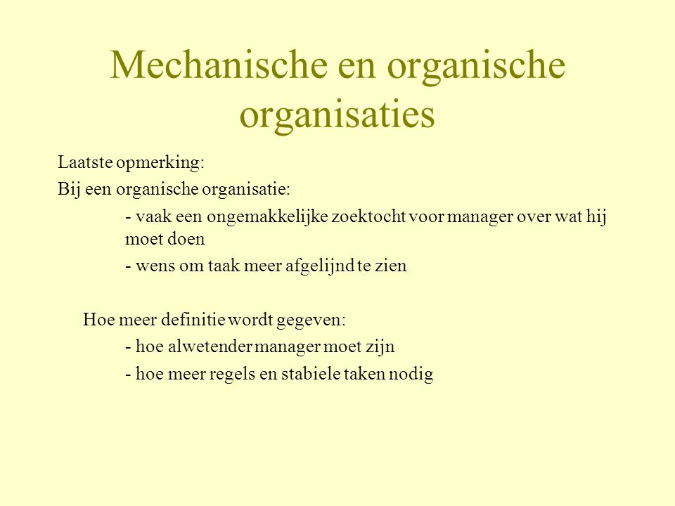 Mechanische en organische organisaties