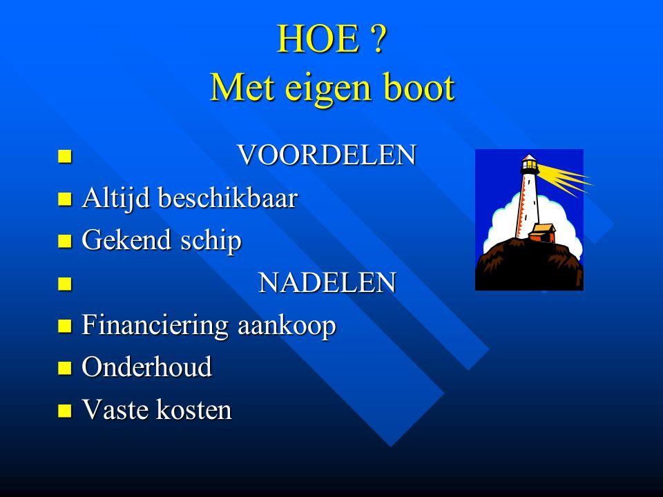 HOE Met eigen boot VOORDELEN Altijd beschikbaar Gekend schip NADELEN