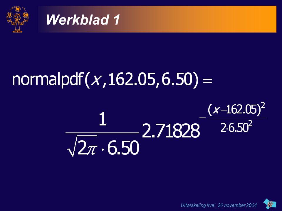 Werkblad 1 Uitwiskeling live! 20 november 2004